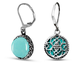 Turquoise Earrings. Sterling Silver Earrings With Round Turquoise Stones.