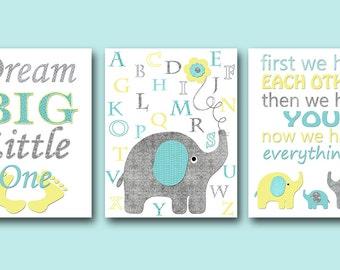 Aqua Yellow Elephant Decor Alphabet Decor for Nursery Canvas Print Nursery Quotes Canvas Baby Boy Wall Decor Dream Big Little One set of 3
