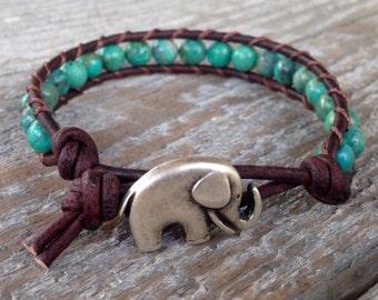 turquoise leather wrap bracelet  gemstone lucky elephant brown unisex guys and girls