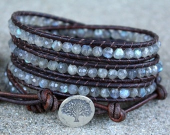 SPRING SALE labradorite and sterling silver tree beaded leather wrap bracelet faceted semi precious genuine stones