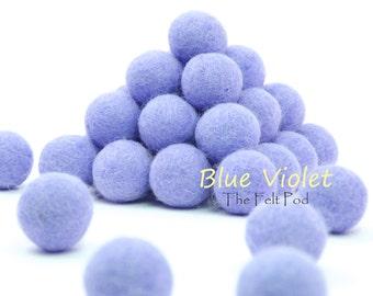Felt Poms // Felt Ball Garland DIY // diy Mobile // diy Necklace // Wool Felt Balls // Pure Wool Beads // BLUE VIOLET // 2.5 cm