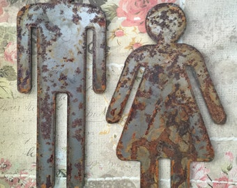 The Shabby Chic Rusted Metal His And Hers Signs 2 Count Rusty Way Finders Restroom Signs Man And Woman Symbols He And She Signs