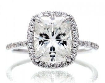 18 Karat White Gold 10x8mm Radiant Cut Forever One Moissanite with Diamond Halo Total Drenched Engagement Ring
