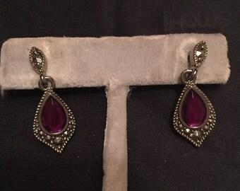 Purple Pierced Earings