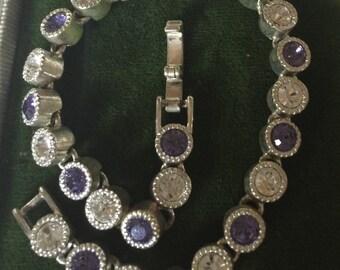 Purple and Clear stones bracelet
