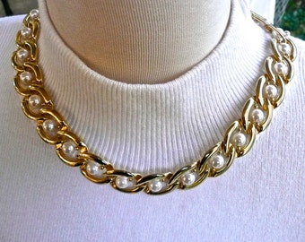 Choker Style Necklace - Gold Tone - Mid-Century - Large Chain Link - Faux Pearls - Dress Necklace - Estate Necklace - Fold Over Clasp