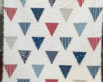 Nautical flag quilt blanket baby toddler gender neutral boy girl spring summer red white blue sailboats seagulls stripe