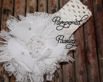 Baby Headband, Shabby Headband,  White lace Headband, crochet Headband, Infant Headband, Wedding Headband, skinny Headband, Flower Headband