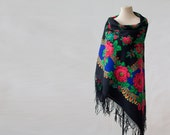 blue Russian shawl with green and pink, oversized shawl, fringed shawl, large floral wool shawl, paisley and roses, Pavlovo Posad shawl sale
