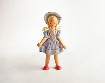 Vintage wood peg doll – Polish wooden peg doll – wooden doll