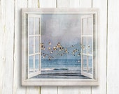 Seagulls flying over the sea - Window view art printed on canvas - housewarming gift idea