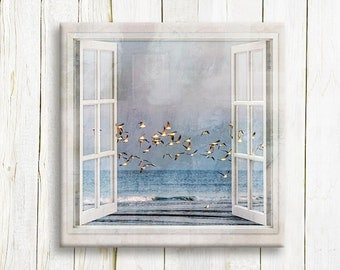 Seagulls flying over the sea - Window view art printed on canvas - housewarming gift