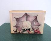 Vintage Music box Hummel style 1980s Girl under Umbrella Edelweiss tune Germany