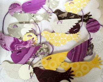 Bird garland - Purple Birds - Doves - large birds garland - Birthday Party decoration - shiny - shimmer - handmade - 8 feet - Wcards