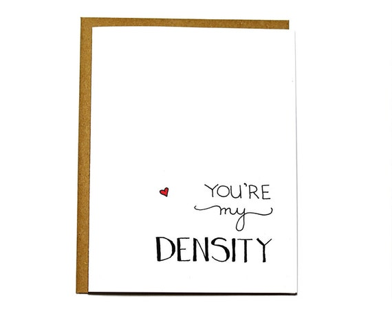 Geek love card. Back to the Future quote card - You're my density. Funny Valentine's Day card.
