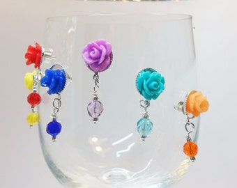 Popular Wine Glass Charms - Magnetic Wine Glass Charms - Colorful Wine Markers - Stemless Wine Charms - Bridal Shower - Baby Shower, WC701