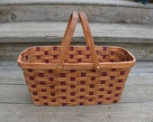 knitting carrier supplies tote basket with handles Red Elm wood