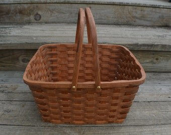 Picnic basket Pie carrier tote  handles cherry wood