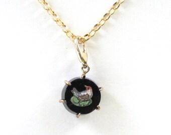 Antique Micro Mosaic Bird Charm Pendant Necklace