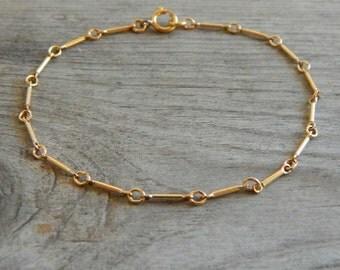Tiny gold bracelet, Dainty bracelet, Thin chain bracelet, Gold filled bracelet, Layering bracelet