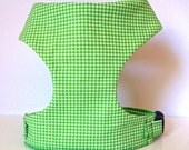 Sale 50% Off Green Tiny Gingham Soft Comfort Dog Harness - Soft on Your Dogs Skin - Available in all Fabrics Listed Under Collars