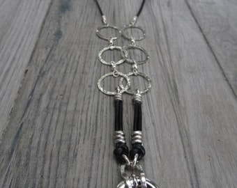 Sterling silver and leather necklace for pendants. Custom made.