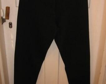 1980s ankle zipper pants black acrylic Please Thank You size 9 - 10 fleece inside