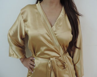 Code: H-7 Satin Solid Color Kimono Crossover patterned Robe Wrap - Bridesmaids gift, getting ready robes, Bridal shower favors, baby shower