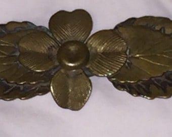 Edwardian Deco Transition Lapel Pin Brooch Figural Leaves Bar Pin Art Deco Brass Figural Unisex