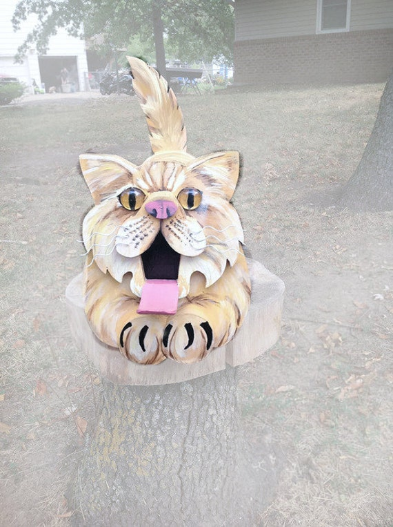 Cat's Meow Cat Mailbox, cat lover gift, unique animal mailbox, hand painted mailbox,  yard decoration, specialty mailbox