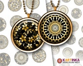 FLORAL & LACE Gold on Black  1 inch (25mm), 1.5 inch Images for Resin pendants Bottle caps Round bezel cabs Jewelry Mountings cameo settings