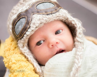 Newborn Aviator Pilot Hat with Goggles Appliqué * Handmade Earflap Photo Prop * Flying Ace