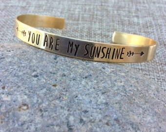 You Are My Sunshine Bracelet, Mantra Bracelet, Inspirational Bracelet, Personalized Bracelet, Custom Cuff Bracelet, Graduation Bracelet