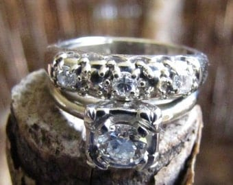 DEADsy LAST GASP SALE 1940 Antique Illusion Head Diamond Wedding Set, White Gold Engagement Ring, Antique Diamond