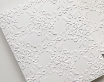 Embossed Note Cards, Greeting Cards, Embossed Cards, Blank Cards, Note Card Set, White Cards, Thank You Note Cards, Brocade Embossed Cards