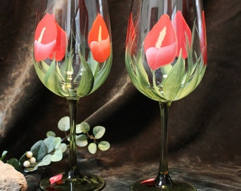 Hand Painted Wine Glasses (Set of 2)  -  Coral Red Callie Lily with Green Stem