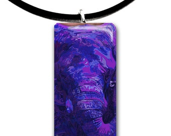 eggplant, purple, Elephant pendant, hand painted unique artwork, Glass tile pendant, purple colors