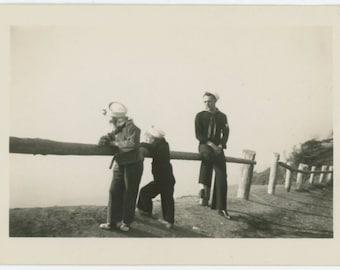 Sailors, c1940s Vintage Snapshot Photo (67481)