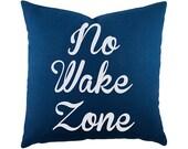 No Wake Zone Throw Pillow, Coastal Cotton Pillow, Navy