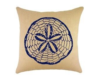 """Sand Dollar Burlap Pillow 16"""", Nautical Accent"""