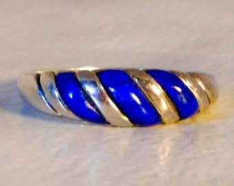 Sterling Kabana Inlay Ring   Lapis Lazuli    Size 7.25  Retro Ring   Designer Signed Kabana
