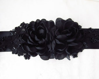 Black Bridal Sash / Black Ribbon Bridal Sash Belt / Black Floral Bridal Sash