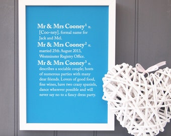 Mr & Mrs Dictionary Definition Print - Mr and Mrs Gift - Couples gift - Anniversary gift - Anniversary present - Paper anniversary - Print