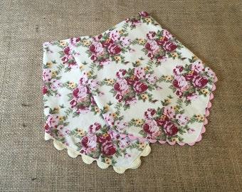 Bandana Bibs Set Shabby Chic Vintage Rose Print One of a Kind Baby Gift Under 25
