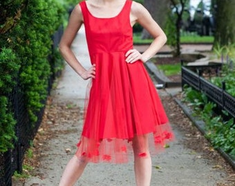 Red Fit and Flare Dress with lace flower details (Rose Dress)