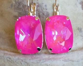 Genuine Swarovski Fancy Ultra Rivoli Hot Pink Crystal Dangle Earings 18 x 13mm