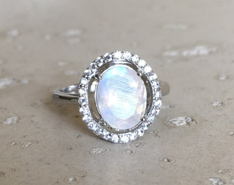 Halo Moonstone Engagement Ring- Rainbow Moonstone Promise Ring- Faceted Moonstone Anniversary Ring- June Birthstone Ring