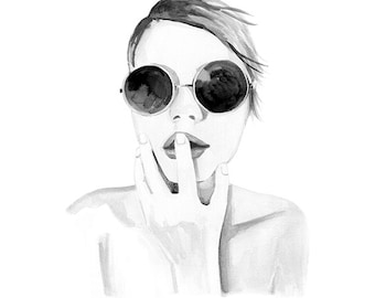 Edie Sedgwick, print from original watercolor and mixed media fashion illustration by Dena Cooper