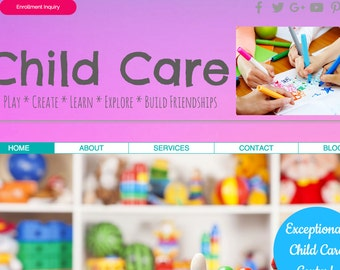 Child Care PINK Website Template built on the WIX Platform - Photography Included - Childcare or Preschool