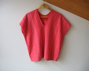 Vintage Handwoven Top - Short Sleeve Cotton Woven Top Size S